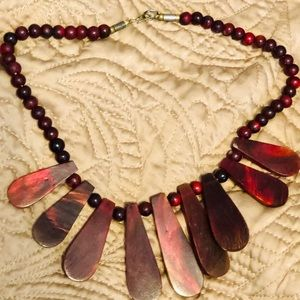 Jewelry - Vintage African Ethnic Burgundy Necklace